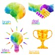 Idea light bulb, human brain, handshake, deal, success, cup — Stock Vector #58024571