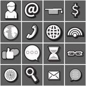 Internet icon set black white. Flat vector — Stock Vector