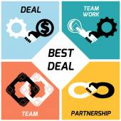 Best deal. team work. vector icons set. flat — Stock Vector