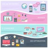 Seo, social network, e-commerce, business flat — Stock Vector