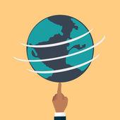 Globe earth flat  — Stock Vector