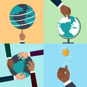 People of different races holding planet earth and tan hend flip — Stock Vector