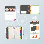 Colorful notebook and calendar set — Stock Vector