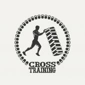 Atravessar o logotipo do Sil homem da formação — Vetor de Stock