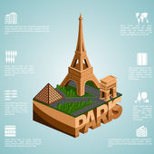 Isometry city Paris — Stock Vector