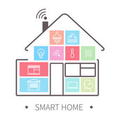 Smart home outline icon — Stock Vector