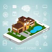 Isometric smart home — Stock Vector