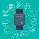 Smart watch flat — Vector de stock