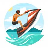 Young Man On Jet Ski — Stock Vector
