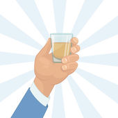 Hand holding a shot of drink — Stock Photo