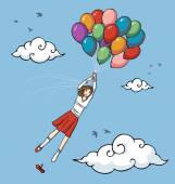 Girl flying with balloons — Stock Vector