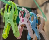 A clothespin on hangers — Stock Photo