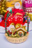 Basket for happy Christmas. — Stockfoto