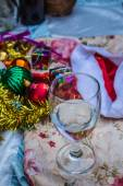 Glass wine and decorated — Stock Photo