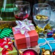 Red balls and gift boxes — Stock Photo #58090001