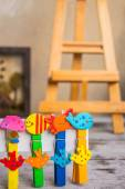 Colorful peg in a row — Stock Photo