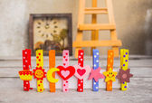 Colorful peg on wooden  — Stock Photo