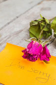 Rose on the wooden  — Stock Photo
