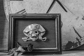 Rámečky na černé a bílé pozadí. — Stock fotografie