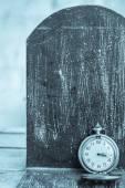Clock on a black background. — Stock Photo