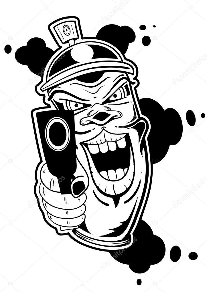 Bombe de graffiti de gangster image vectorielle elh3ffe - Bombe de graffiti ...