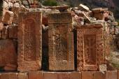 Three khachkars in the monastic complex Noravank — Stock Photo