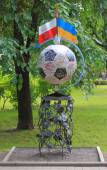 Forged figure dedicated Euro 2012 in park of Donetsk — Stock Photo