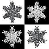 Four snowflakes on black and white backround — Stock Photo