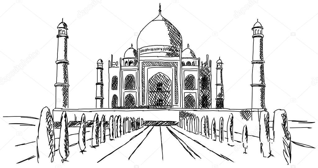 Taj mahal india costruzione disegno vettoriali stock for Drawing for house construction in india