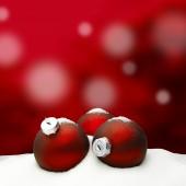 Christmas background - Christmas Ornament red - Snow — Foto de Stock