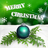 Christmas background - Christmas Ornament green - Snow — Foto de Stock