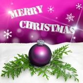 Christmas background - Christmas Ornament pink - Snow — Foto de Stock