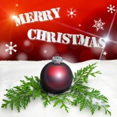 Christmas background - Christmas Ornament red - Snow — Photo