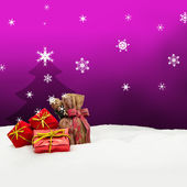 Christmas background - Christmas tree - gifts - pink - Snow — Foto de Stock