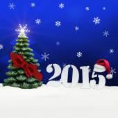 Christmas tree happy new year 2015 blue — Stock Photo