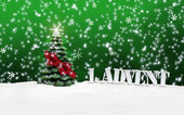 1. Advent - gifts - green - Snow — Stock Photo