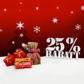 Christmas gifts 25 percent Rabatt Discount — Stock Photo