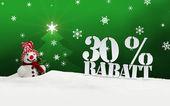 Christmas snowman 30 percent Rabatt Discount — Foto de Stock