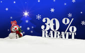Christmas snowman 30 percent Rabatt Discount — Stock Photo