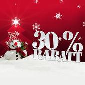 Christmas snowman 30 percent Rabatt Discount — Stock Photo