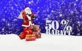 Santa claus - merry christmas 50 percent discount — Stock Photo