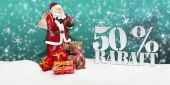 Santa claus - merry christmas 50 percent discount — Stock fotografie