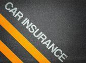Car Insurance Text Writing Road Asphalt — Stock Photo