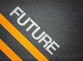 Future Text Writing Road Asphalt — Foto de Stock