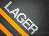 Text Writing Road Asphalt German Lager Stock — Stock Photo