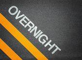 Overnight Text Writing Road Asphalt — Stock Photo