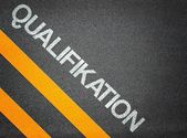 German Qualification Qualifikation Text Writing Road Asphalt — Stock Photo