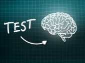 Test brain background knowledge science blackboard turquoise — Stockfoto