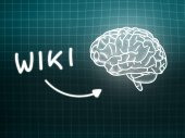 Wiki brain background knowledge science blackboard turquoise — 图库照片