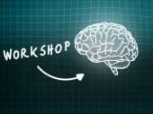 Workshop brain background knowledge science blackboard turquoise — ストック写真
